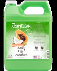 Shampoing 2 en 1 pour animaux à la papaye et noix de coco, Tropiclean 1 gallon concentré