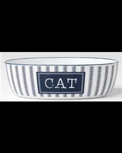 Bol bleu et blanc en céramique pour chats