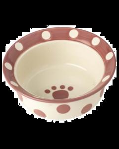 Bol en céramique rose et blanc pour animaux, Petrageous