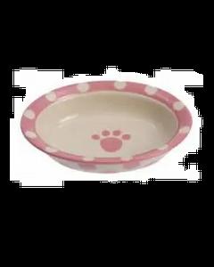 Bol en céramique beige et rose pour chiens et chats, Petrageous