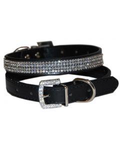 Collier pour chien ou chat en simili cuir noir avec pierres