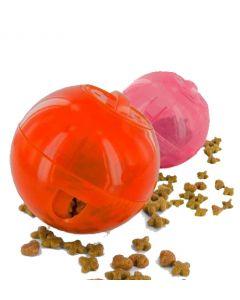 jouet pour chat distributeur collation rose ou orange