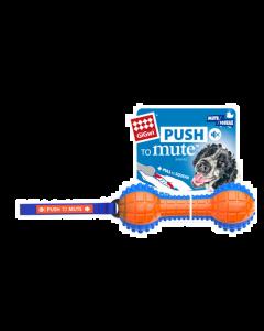 Jouet pour chiens, haltère avec ganse, GIGwi push to mute, avec couineur ou silencieux