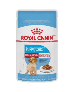 Pochettes morceaux en sauce MOYEN chiot, Royal Canin