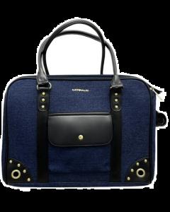 Petit sac de transport pour animaux, design bleu jeans, Katrina Liu